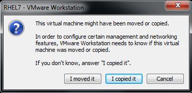 پیغام نمایش داده شده در VMware Workstation